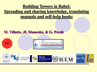 Building Towers in Babel:  Spreading and sharing knowledge, translating manuals and self-help books