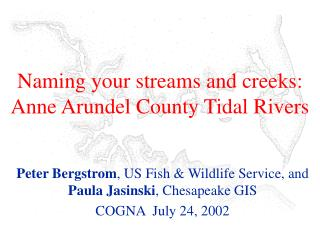 Naming your streams and creeks: Anne Arundel County Tidal Rivers