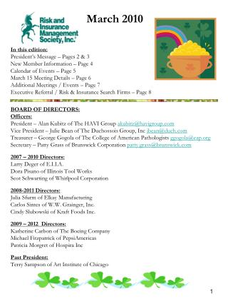 In this edition: President s Message   Pages 2  3  New Member Information   Page 4 Calendar of Events   Page 5 March 15