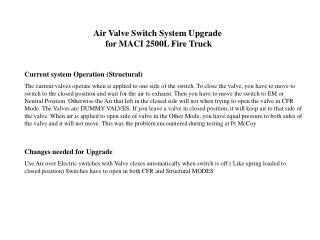 Air Valve Switch System Upgrade  for MACI 2500L Fire Truck