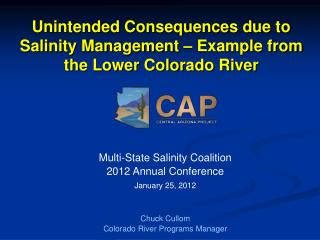 Unintended Consequences due to Salinity Management   Example from the Lower Colorado River