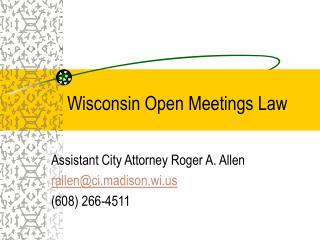 Wisconsin Open Meetings Law