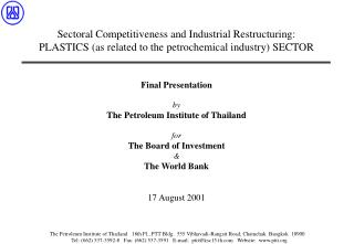 Sectoral Competitiveness and Industrial Restructuring:  PLASTICS as related to the petrochemical industry SECTOR     Fin