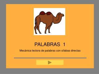 PALABRAS  1 Mec nica lectora de palabras con s labas directas