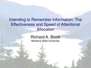 Intending to Remember Information: The Effectiveness and Speed of Attentional Allocation