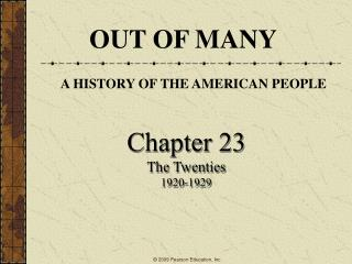 Chapter 23 The Twenties 1920-1929