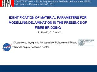 Introduction  Motivation experiments and numerical model Superposed cohesive laws approach for bridging Numerical identi