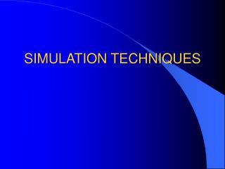SIMULATION TECHNIQUES