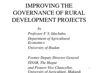 IMPROVING THE GOVERNANCE OF RURAL DEVELOPMENT PROJECTS