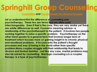 Counseling and Psychotherapy for Married Couples