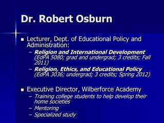 Dr. Robert Osburn