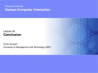 Imran Hussain University of Management and Technology UMT