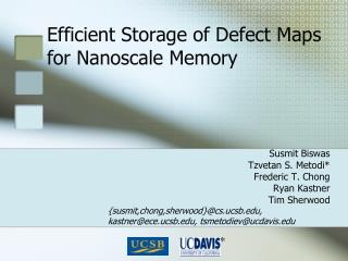 Efficient Storage of Defect Maps for Nanoscale Memory