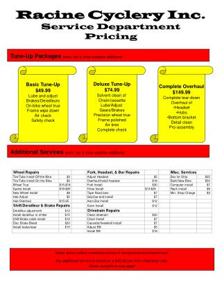 Racine Cyclery Inc. Service Department Pricing