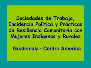Sociedades de Trabajo, Incidencia Pol tica y Pr cticas de Resiliencia Comunitaria con Mujeres Ind genas y Rurales    Gua