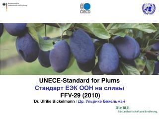 UNECE-Standard for Plums       FFV-29 2010 Dr. Ulrike Bickelmann
