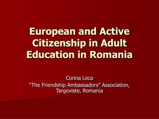 European and Active Citizenship in Adult Education in Romania