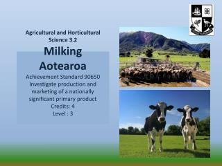 Agricultural and Horticultural Science 3.2 Milking  Aotearoa Achievement Standard 90650 Investigate production and marke