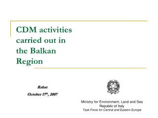 CDM activities carried out in the Balkan Region