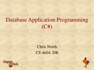Database Application Programming C