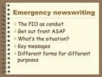 Emergency newswriting
