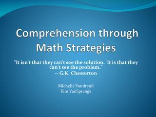 Comprehension through Math Strategies