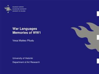 War Languages Memories of WW1