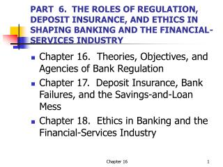 PART  6.  THE ROLES OF REGULATION, DEPOSIT INSURANCE, AND ETHICS IN SHAPING BANKING AND THE FINANCIAL-SERVICES INDUSTRY