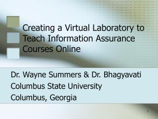 Creating a Virtual Laboratory to Teach Information Assurance Courses Online