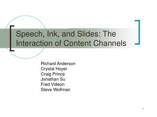 Speech, Ink, and Slides: The Interaction of Content Channels
