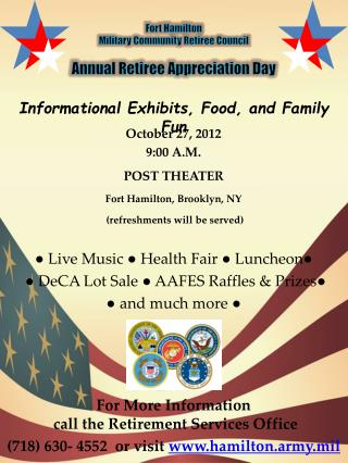 Fort Hamilton  Military Community Retiree Council  Annual Retiree Appreciation Day