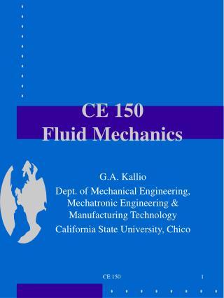 CE 150 Fluid Mechanics
