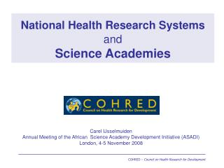 National Health Research Systems and Science Academies