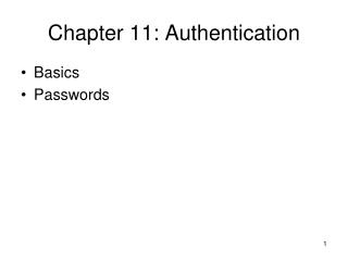 Chapter 11: Authentication