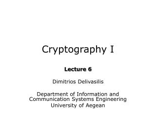 Cryptography I