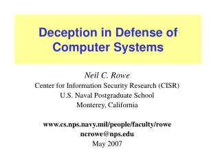 Deception in Defense of Computer Systems