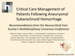 Critical Care Management of Patients Following Aneurysmal Subarachnoid Hemorrhage