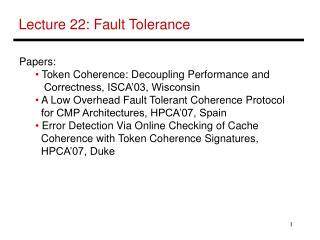 Lecture 22: Fault Tolerance