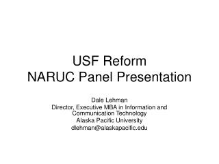 USF Reform NARUC Panel Presentation