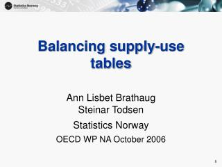 Balancing supply-use tables