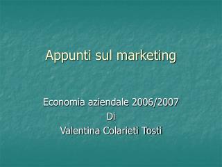 Appunti sul marketing