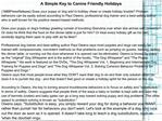 A Simple Key to Canine Friendly Holidays