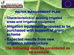 WATER MANAGEMENT PLAN