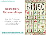 Icebreakers: Christmas Bingo