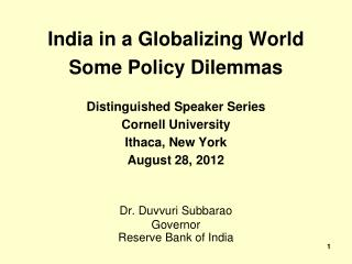 India in a Globalizing World Some Policy Dilemmas