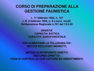CORSO DI PREPARAZIONE ALLA  GESTIONE FAUNISTICA