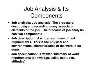 Job Analysis  Its Components