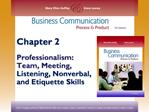 Chapter 2  Professionalism: Team, Meeting, Listening, Nonverbal, and Etiquette Skills