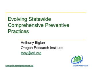 Evolving Statewide Comprehensive Preventive Practices