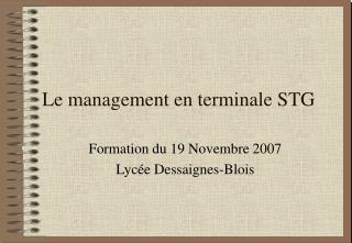 Le management en terminale STG